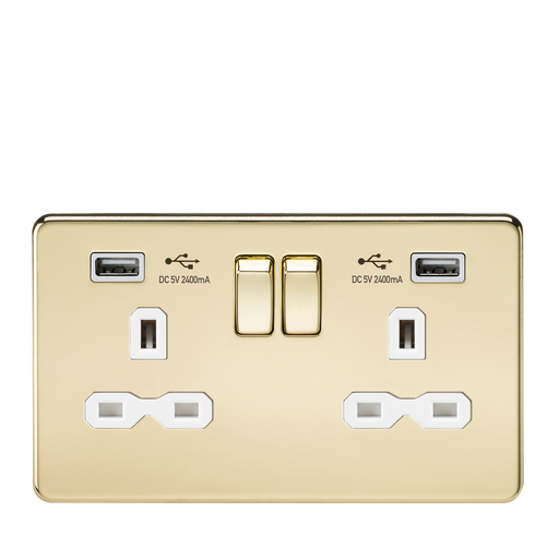 Knightsbridge SFR9224PBW 13A 2G Switched Socket with Dual USB Charger (2.4A) - Polished Brass with White Insert - Knightsbridge - Sparks Warehouse