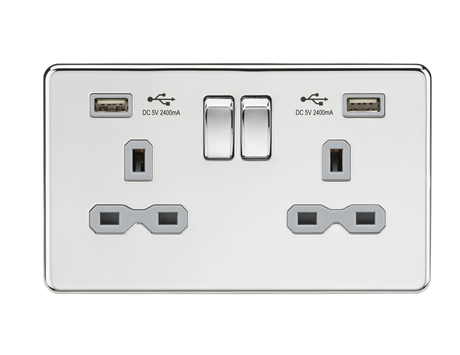 Knightsbridge SFR9224PCG 13A 2G Switched Socket with Dual USB Charger (2.4A) - Polished Chrome with Grey Insert - Knightsbridge - Sparks Warehouse
