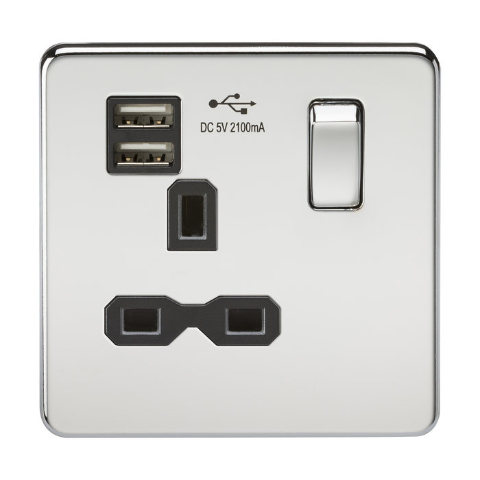 Knightsbridge SFR9901PC Screwless 13A 1G Switched Socket With Dual USB Charger - Polished Chrome With Black Insert - Knightsbridge - Sparks Warehouse