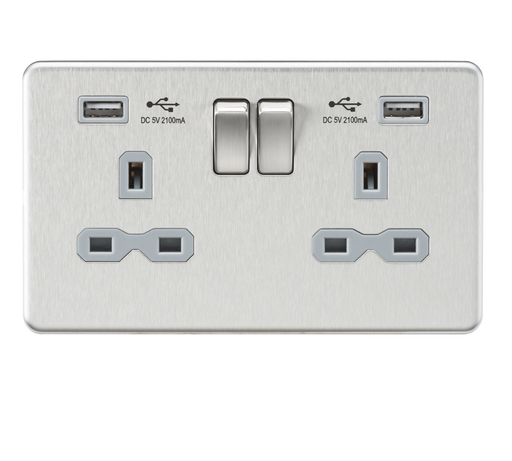 Knightsbridge SFR9224BCG Screwless 13A 2G Switched Socket With Dual USB Charger - Brushed Chrome With grey Insert - Knightsbridge - Sparks Warehouse