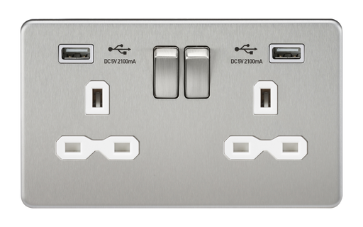 Knightsbridge SFR9224BCW Screwless 13A 2G Switched Socket With Dual USB Charger - Brushed Chrome With White Insert - Knightsbridge - Sparks Warehouse