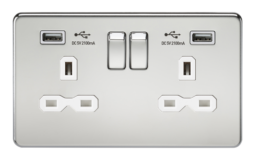 Knightsbridge SFR9224PCW Screwless 13A 2G Switched Socket With Dual USB Charger - Polished Chrome With White Insert - Knightsbridge - Sparks Warehouse