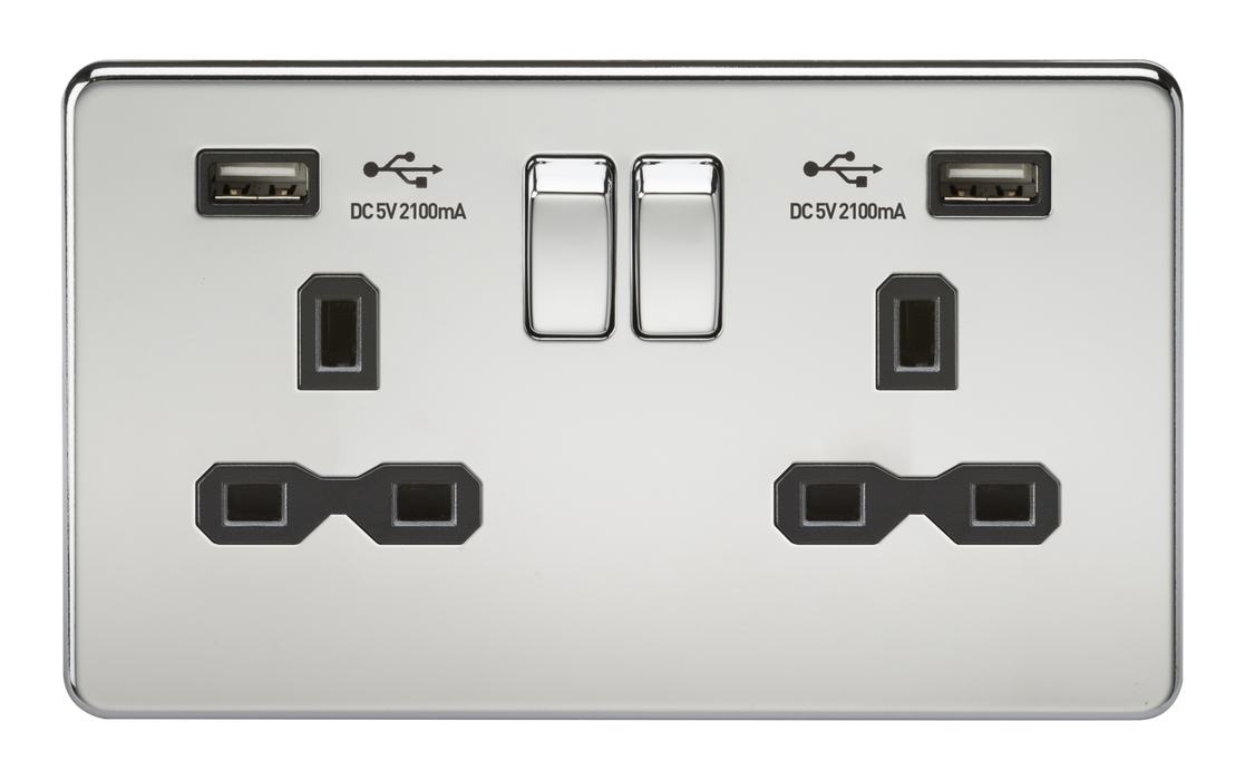 Knightsbridge SFR9224PC Screwless 13A 2G Switched Socket With Dual USB Charger - Polished Chrome With Black Insert - Knightsbridge - Sparks Warehouse