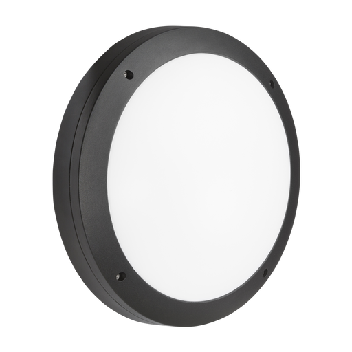 Knightsbridge SHE1BEM 230V IP65 18W LED Round Bulkhead CCT with Emergency Black