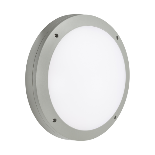Knightsbridge SHE1GEMP 230V IP65 18W LED Round Bulkhead CCT with Emergency & Daylight Sensor Grey