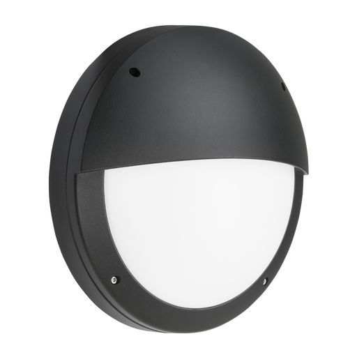 Knightsbridge SHE2BEMP 230V IP65 18W LED Eyelid Bulkhead CCT with Emergency & Daylight Sensor Black