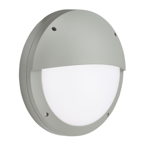 Knightsbridge SHE2GP 230V IP65 18W LED Eyelid Bulkhead CCT with Daylight Sensor Grey