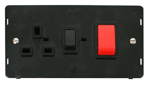 Scolmore SIN204BK - 45A DP Switch & 13A DP Switched Socket Insert - Black - Scolmore - Sparks Warehouse