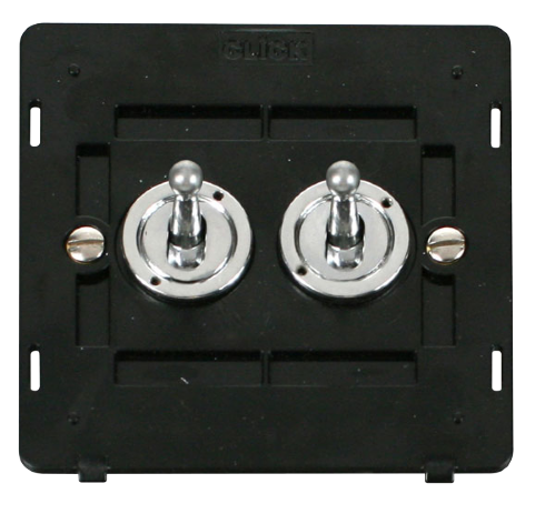 Scolmore SIN422CH - 10AX 2 Gang 2 Way Toggle Switch Insert - Chrome - Scolmore - Sparks Warehouse
