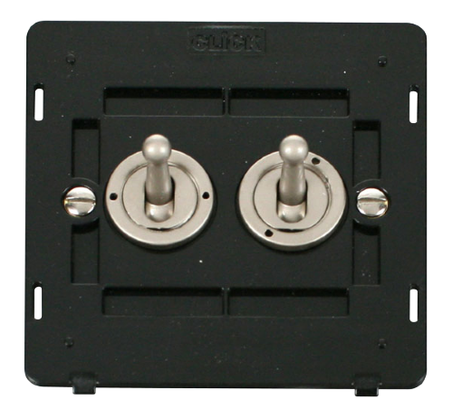 Scolmore SIN422PN - 10AX 2 Gang 2 Way Toggle Switch Insert - Pearl Nickel - Scolmore - Sparks Warehouse
