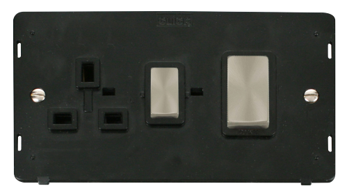 Scolmore SIN504BKBS - INGOT 45A DP Switch & 13A DP Switched Socket Insert - Black - Scolmore - Sparks Warehouse