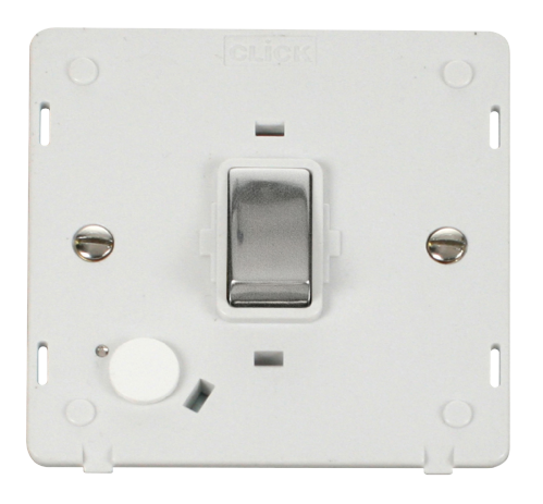 Scolmore SIN522PWCH - INGOT 20A DP Switch With Flex Outlet  Insert - White / Chrome - Scolmore - Sparks Warehouse