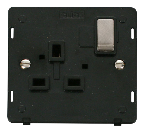 Scolmore SIN535BKBS - INGOT 1 Gang 13A DP Switched Socket Insert - Black / Brushed Stainless - Scolmore - Sparks Warehouse