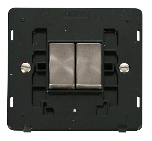 Scolmore SINBSBK-SMART2 - 1G Insert 2 Apertures Supplied With 2 x 10AX 2 Way Ingot Retractive Switch Modules - Black - Scolmore - Sparks Warehouse