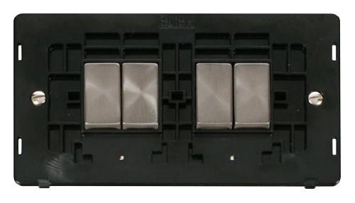 Scolmore SINBSBK-SMART4 - 2G Insert 2 x 2 Apertures Supplied With 4 x 10AX 2 Way Ingot Retractive Switch Modules - Black - Scolmore - Sparks Warehouse
