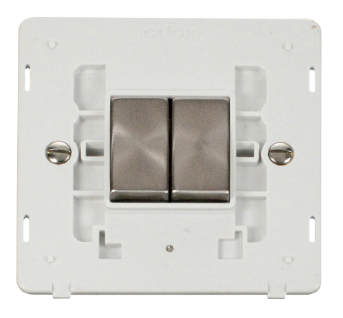 Scolmore SINBSPW-SMART2 - 1G Insert 2 Apertures Supplied With 2 x 10AX 2 Way Ingot Retractive Switch Modules - White - Scolmore - Sparks Warehouse