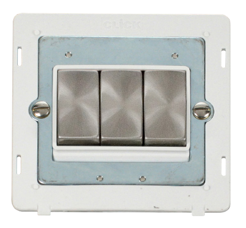 Scolmore SINBSPW-SMART3 - 1G Insert 3 Apertures Supplied With 3 x 10AX 2 Way Ingot Retractive Switch Modules - White - Scolmore - Sparks Warehouse