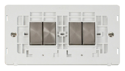 Scolmore SINBSPW-SMART4 - 2G Insert 2 x 2 Apertures Supplied With 4 x 10AX 2 Way Ingot Retractive Switch Modules - White - Scolmore - Sparks Warehouse