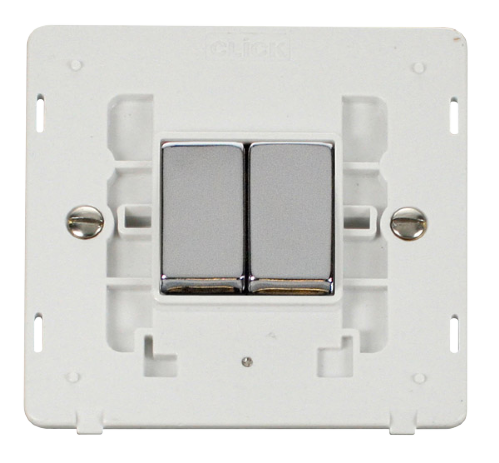 Scolmore SINCHPW-SMART2 - 1G Insert 2 Apertures Supplied With 2 x 10AX 2 Way Ingot Retractive Switch Modules - White - Scolmore - Sparks Warehouse