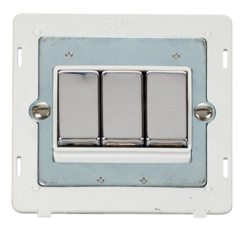 Scolmore SINCHPW-SMART3 - 1G Insert 3 Apertures Supplied With 3 x 10AX 2 Way Ingot Retractive Switch Modules - White - Scolmore - Sparks Warehouse