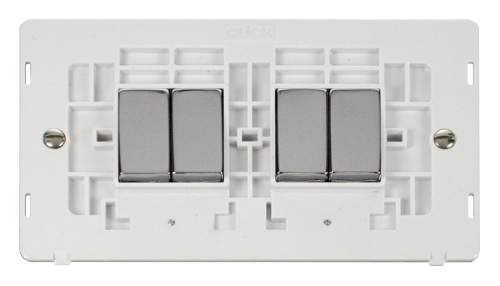 Scolmore SINCHPW-SMART4 - 2G Insert 2 x 2 Apertures Supplied With 4 x 10AX 2 Way Ingot Retractive Switch Modules - White - Scolmore - Sparks Warehouse