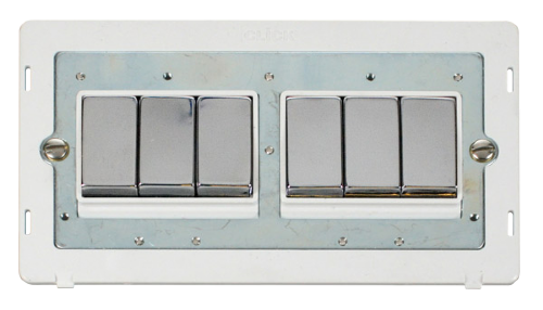 Scolmore SINCHPW-SMART6 - 2G Insert 2 x 3 Apertures Supplied With 6 x 10AX 2 Way Ingot Retractive Switch Modules - White - Scolmore - Sparks Warehouse