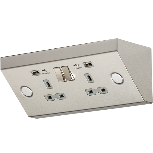 Knightsbridge SKR009A 13A 2G Mounting Switched Socket with Dual USB Charger (2.4A) - Stainless Steel with grey insert - Knightsbridge - Sparks Warehouse
