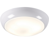 Knightsbridge TPB28MSEMHF IP44 28W POLO OPAL DIFFUSER & White BASE - HF c/w Sensor - Emergency