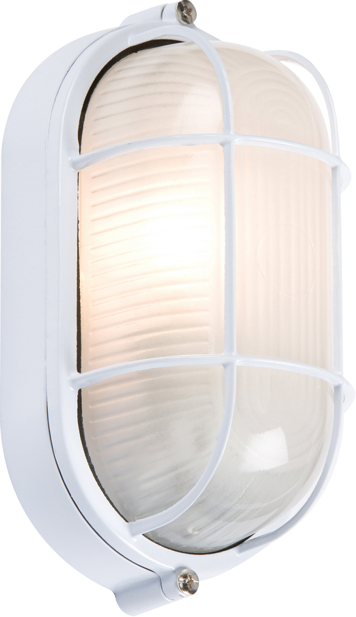Knightsbridge TPOV60W IP54 OVAL Bulkhead - White  c/w WIRE GUARD & GLASS DIFFUSER - Knightsbridge - sparks-warehouse
