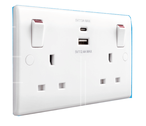 BG Nexus 822UAC White 13A Switched USB Socket with Type A & Type C 4.2A - BG - Sparks Warehouse