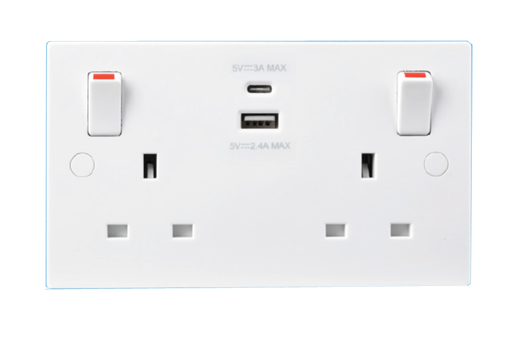 BG Nexus 922UAC White 13A Switched USB Socket with Type A & Type C 4.2A - BG - Sparks Warehouse