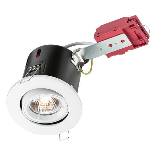 Knightsbridge VFRSGICW Tilt GU10 230v 50w Fire Rated DownLight Gimbal - White