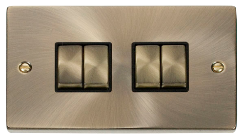 Scolmore VPAB414BK - 4 Gang 2 Way 'Ingot' 10AX Switch - Black - Scolmore - Sparks Warehouse