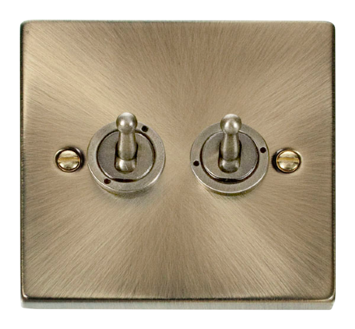 Scolmore VPAB422 Deco Antique Brass - 2 Gang 2 Way 10AX Toggle Switch - Scolmore - Sparks Warehouse
