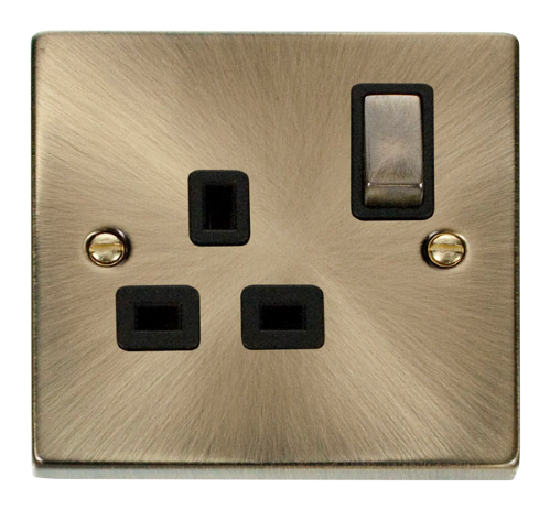 Scolmore VPAB535BK - 1 Gang 13A DP 'Ingot' Switched Socket Outlet - Black - Scolmore - Sparks Warehouse