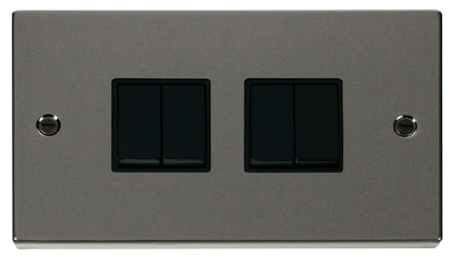 Scolmore VPBN019BK - 4 Gang 2 Way 10AX Switch - Black - Scolmore - Sparks Warehouse