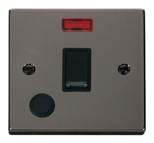 Scolmore VPBN023BK - 20A 1 Gang DP Switch With Flex Outlet And Neon - Black - Scolmore - Sparks Warehouse