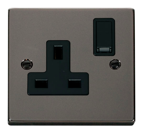 Scolmore VPBN035BK - 1 Gang 13A DP Switched Socket Outlet - Black - Scolmore - Sparks Warehouse
