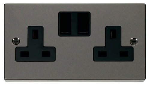 Scolmore VPBN036BK - 2 Gang 13A DP Switched Socket Outlet - Black - Scolmore - Sparks Warehouse