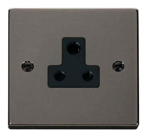 Scolmore VPBN038BK - 5A Round Pin Socket Outlet - Black - Scolmore - Sparks Warehouse