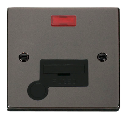 Scolmore VPBN053BK - 13A Fused Connection Unit With Flex Outlet & Neon - Black - Scolmore - Sparks Warehouse