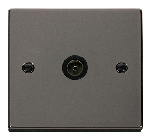 Scolmore VPBN065BK - Single Coaxial Socket Outlet - Black - Scolmore - Sparks Warehouse