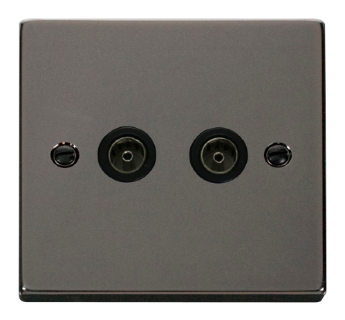 Scolmore VPBN066BK - Twin Coaxial Socket Outlet - Black - Scolmore - Sparks Warehouse