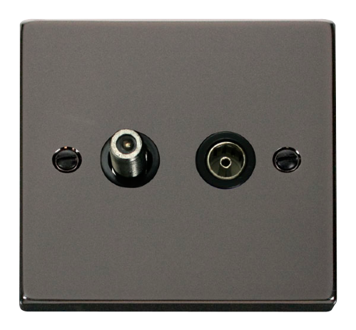 Scolmore VPBN157BK - 1 Gang Satellite & Isolated Coaxial Socket Outlet - Black - Scolmore - Sparks Warehouse