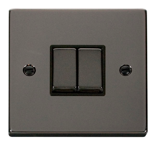 Scolmore VPBN412BK - 2 Gang 2 Way 'Ingot' 10AX Switch - Black - Scolmore - Sparks Warehouse