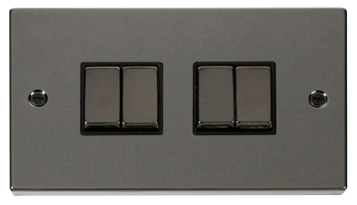 Scolmore VPBN414BK - 4 Gang 2 Way 'Ingot' 10AX Switch - Black - Scolmore - Sparks Warehouse