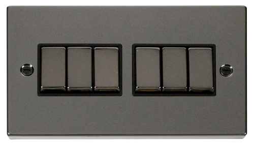 Scolmore VPBN416BK - 6 Gang 2 Way 'Ingot' 10AX Switch - Black - Scolmore - Sparks Warehouse