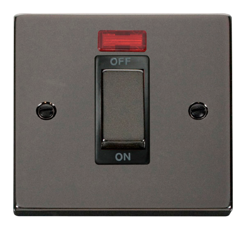 Scolmore VPBN501BK - Ingot 1 Gang 45A DP Switch With Neon - Black - Scolmore - Sparks Warehouse