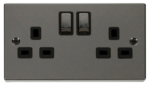 Scolmore VPBN536BK - 2 Gang 13A DP 'Ingot' Switched Socket Outlet - Black - Scolmore - Sparks Warehouse