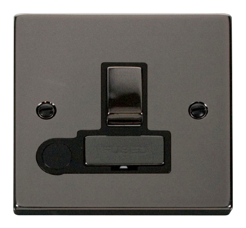 Scolmore VPBN551BK - 13A Fused 'Ingot' Switched Connection Unit With Flex Outlet - Black - Scolmore - Sparks Warehouse
